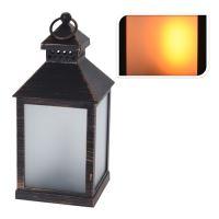 Lámpás LED gyertyával/reál efekt - fekete 23 cm