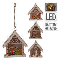 Domček - svietiaci LED - teplá biela 10 cm, mix/1ks