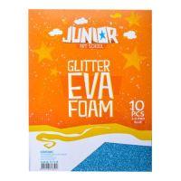 Dekorlap habosított A4 EVA 10 db kék vastagsága 2,0 mm glitter