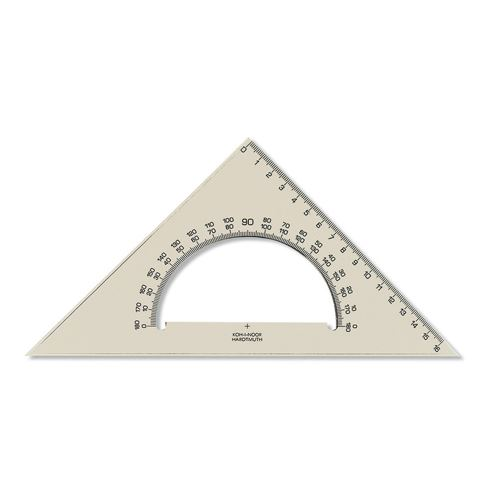 háromszög szögmérővel  KOH-I-NOOR átlátszó, 16 cm