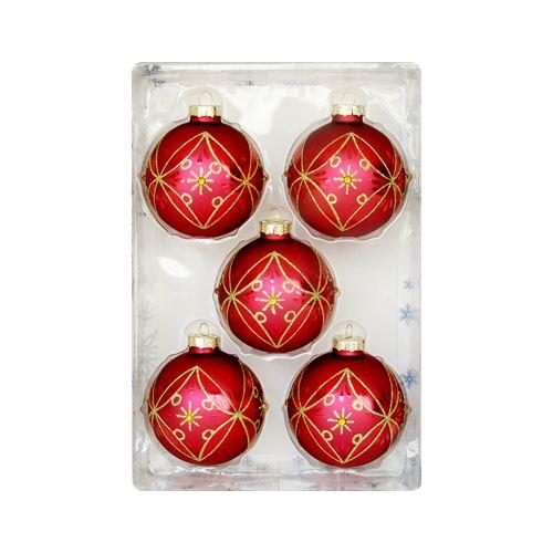 Karácsonyfa gömb - üveg piros/arany 67 mm, 5 db készlet