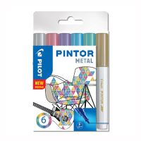 "Dekoračný popisovač PILOT ""Pintor Metall"", sada 6 ks, hrot F"