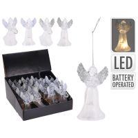 LED lámpás angyal fehér és ezüst szárnyakkal 11 cm, vegyes/1db