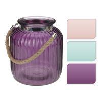Üveg gyertyatartó - színek keveréke 18x21 cm, 1db