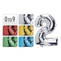 0-9  Szám Formájú születésnapi lufi, 35 cm, vegyes színek, 1db