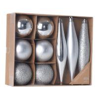 Karácsonyi dísz - PP ezüst 4,5/14,5 cm 9 db készlet