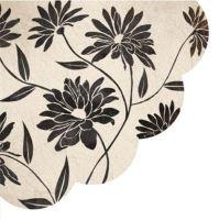 Szalvéta kerek PAW R Flowery Decor black