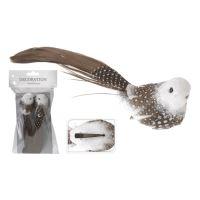 Vták na klipe 16 cm - hnedý, set 2ks