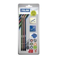 ceruza MILAN 3xháromszögű HB+Radír +Hegyező