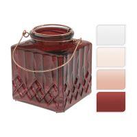 Svietnik sklenený na čajovú sviečku - mix farieb 10 cm, 1ks