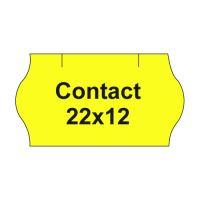 Árazó  szalag CONTACT 22x12 -1500 címke/ tekercs, sárga