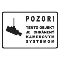 Info címkék - 200x135 mm-es kamerával védett objektum