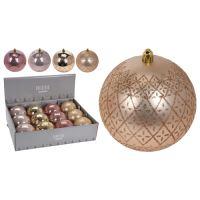 Karácsonyfagolyó - PP 100 mm/aranyos-rózsaszín, vegyes/1db