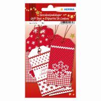 Vianočná visačka na darčeky - červeno-biele