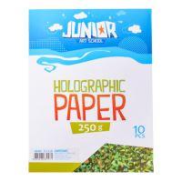Dekor karton  A4 10 db zöld hologrammos 250 g