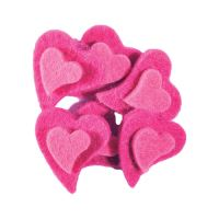 Dekoráció  plüss szívek rózsaszín 6 db